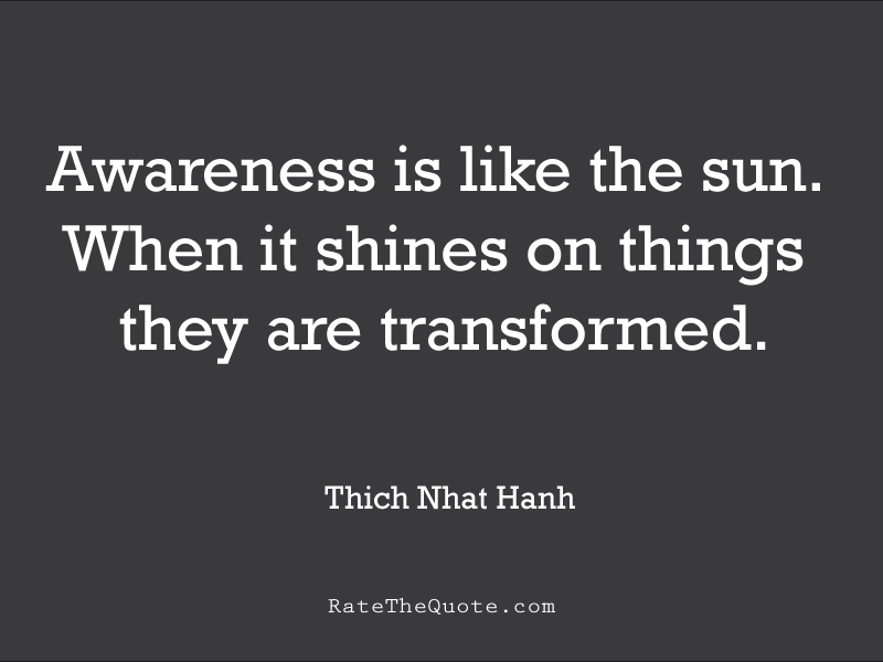 Quote about life Awareness is like the sun. When it shines on things they are transformed. - Thich Nhat Hanh