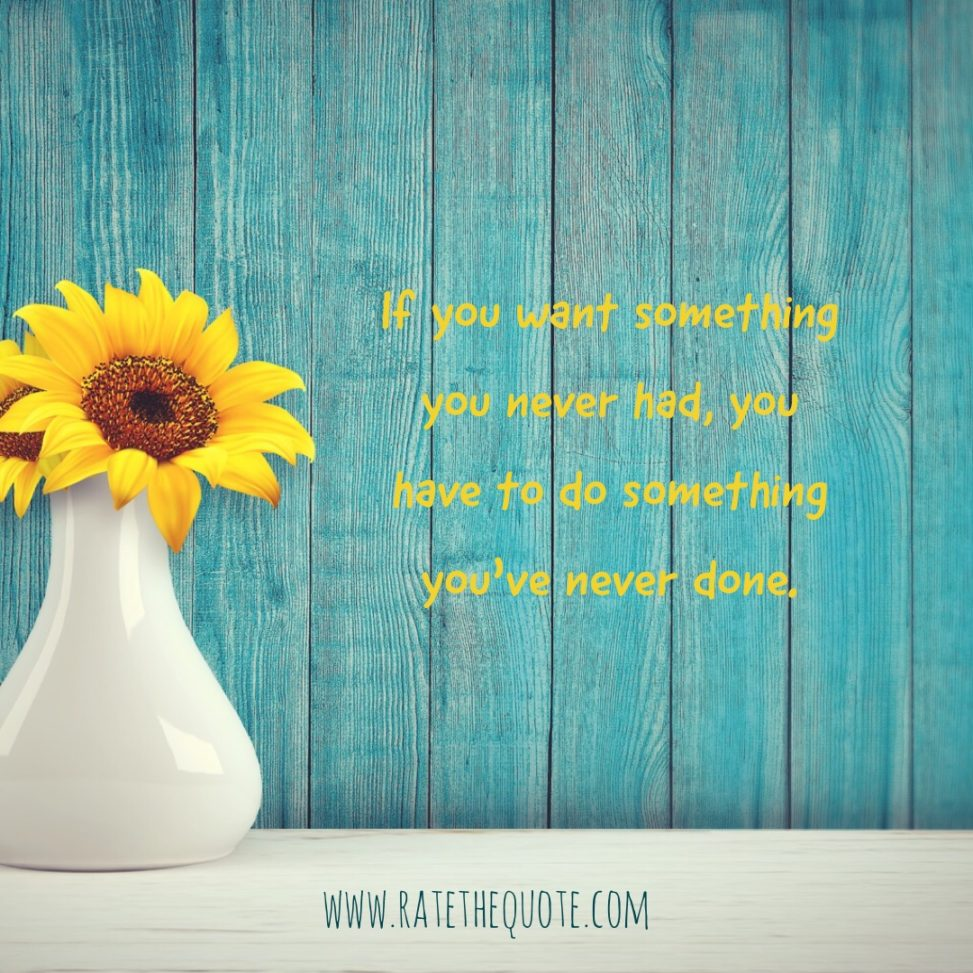 If you want something you never had, you have to do something you've never done. Thomas Jefferson