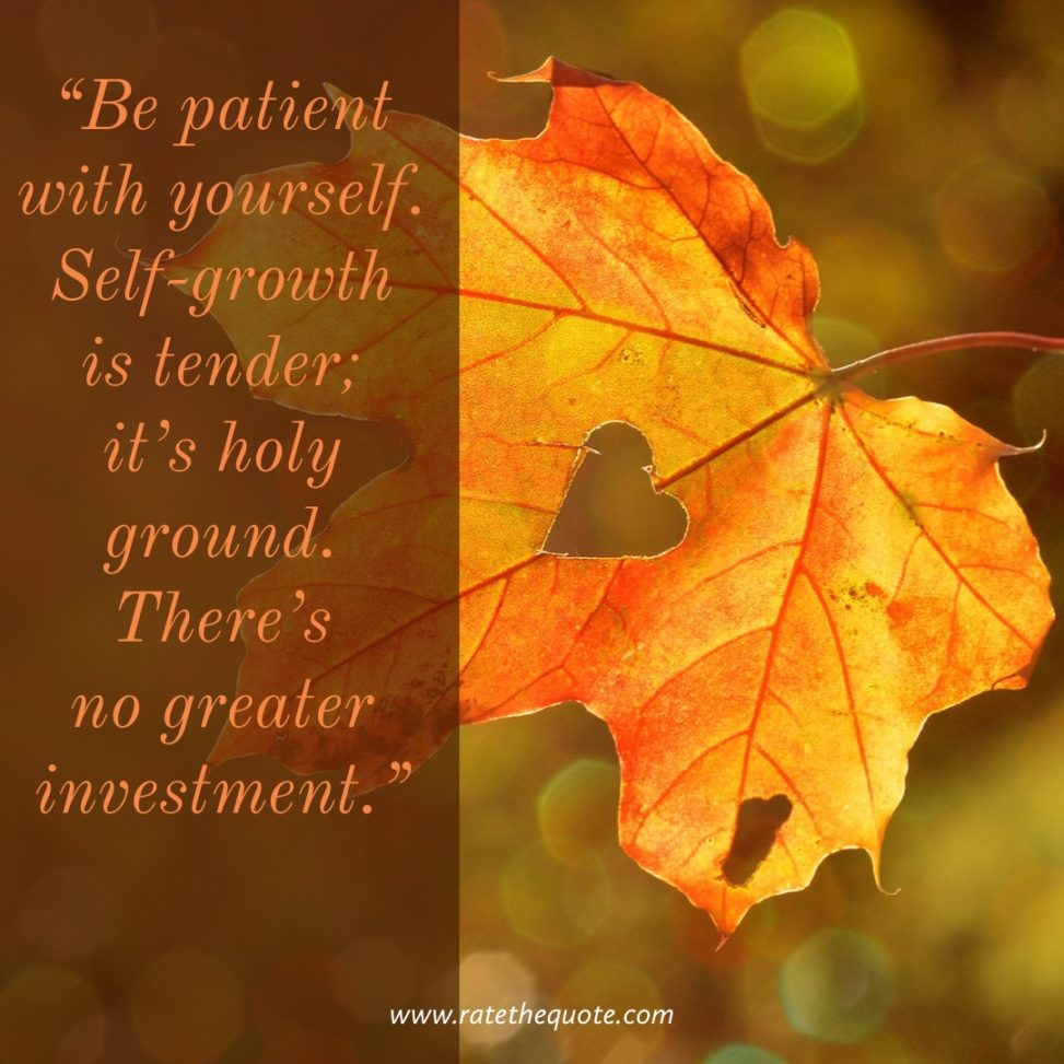 """Be patient with yourself. Self-growth is tender; it's holy ground. There's no greater investment."" -Stephen Covey"