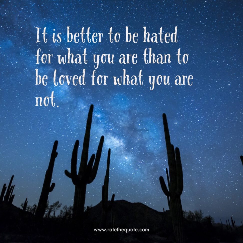 """""""It is better to be hated for what you are than to be loved for what you are not."""" – Andre Gide"""