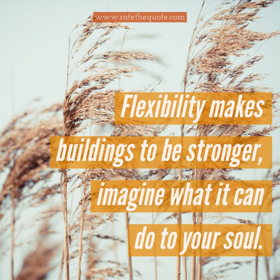 Flexibility makes buildings to be stronger, imagine what it can do to your soul.