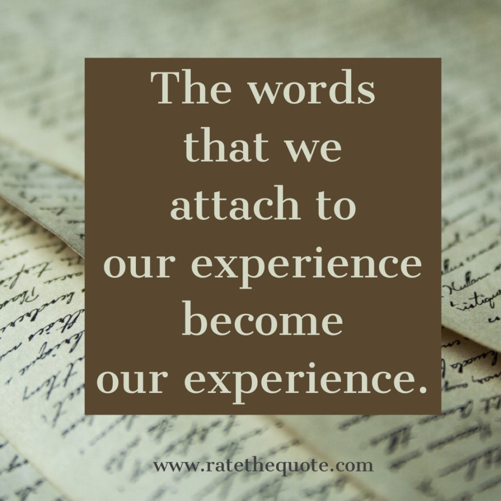 The words that we attach to our experience become our experience.