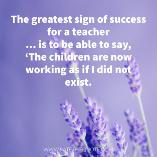 """The greatest sign of success for a teacher ... is to be able to say, 'The children are now working as if I did not exist."" Maria Montessori"