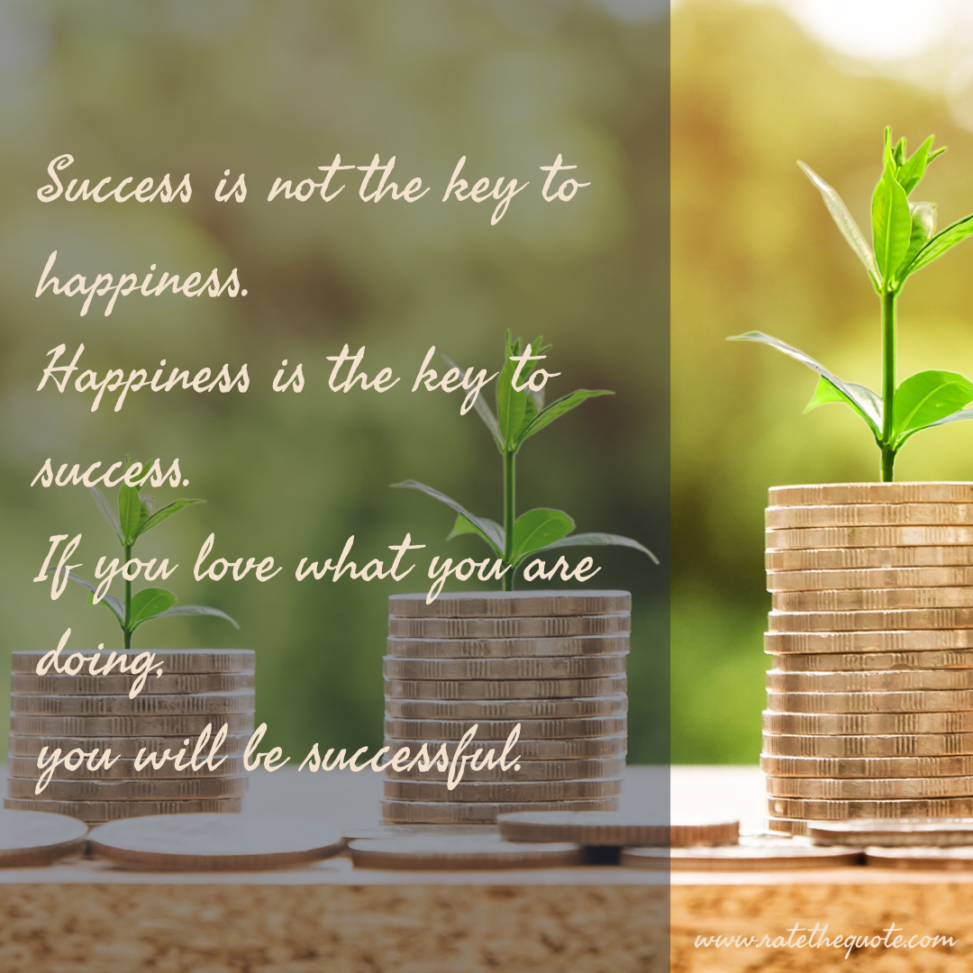 """Success is not the key to happiness. Happiness is the key to success. If you love what you are doing, you will be successful."""