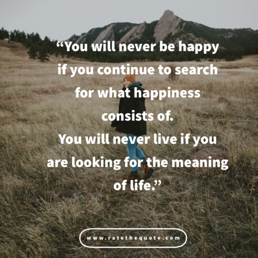 """You will never be happy if you continue to search for what happiness consists of. You will never live if you are looking for the meaning of life."""