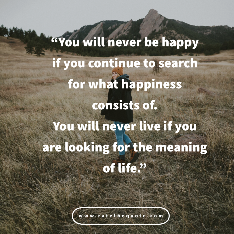 """""""You will never be happy if you continue to search for what happiness consists of. You will never live if you are looking for the meaning of life."""""""