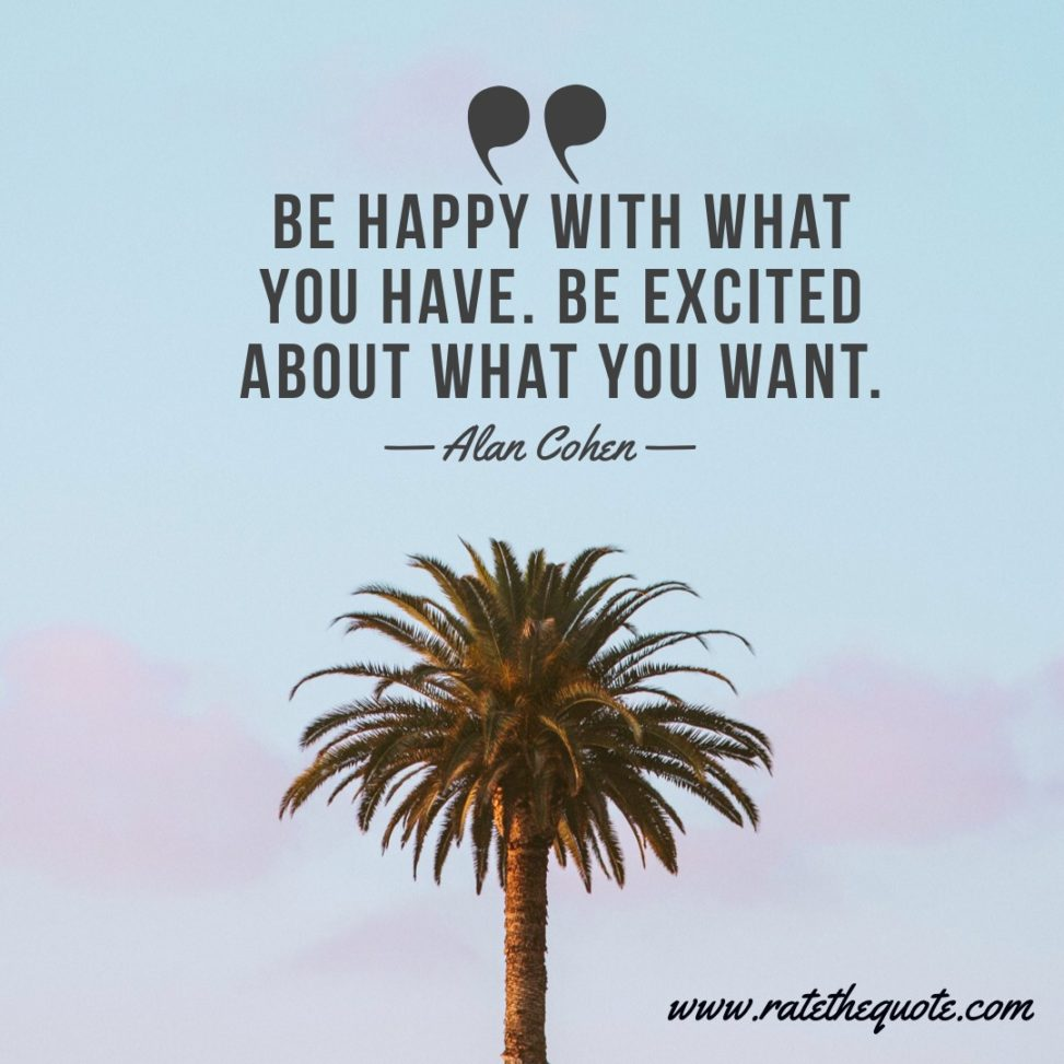 """Be happy with what you have. Be excited about what you want."" – Alan Cohen"