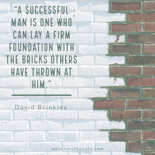 """A successful man is one who can lay a firm foundation with the bricks others have thrown at him."" -David Brinkley"