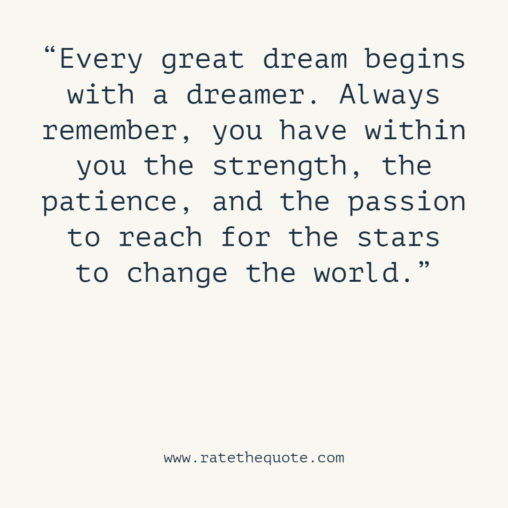 Every great dream begins with a dreamer. Always remember, you have within you the strength, the patience, and the passion to reach for the stars to change the world.